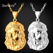 Starlord Jesus Piece Necklaces Pendant 50CM+5CM Chain Trendy New Men Jewelry Jesus Women Necklace Gold/Silver Color Jewelry P880(China)