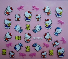 Mix Order: $0.7 XF324 Free Shipping Brand 3D Design Tip Nail Art Hello Kitty Nail Stickers Decals Carving Nail Art Decorations