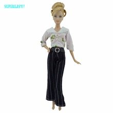 Fashion Lady Outfit Handmade Party Casual Wear Long Sleeves Blouse Belt Stripes Trousers Clothes For Barbie Doll Accessories Toy