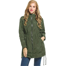 Winter Women Rain Trench Waterproof Hooded Zip Lightweight Trench Coat Windbreaker casaco feminino Green Black abrigo mujer vadi