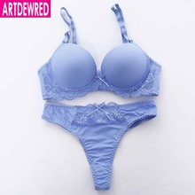 New 2017 Brand Sexy Seamless One Piece Intimates Bras & Brief Sets Underwear For Womens Ladies Push Up Plunge Dress Bra Sets(China)