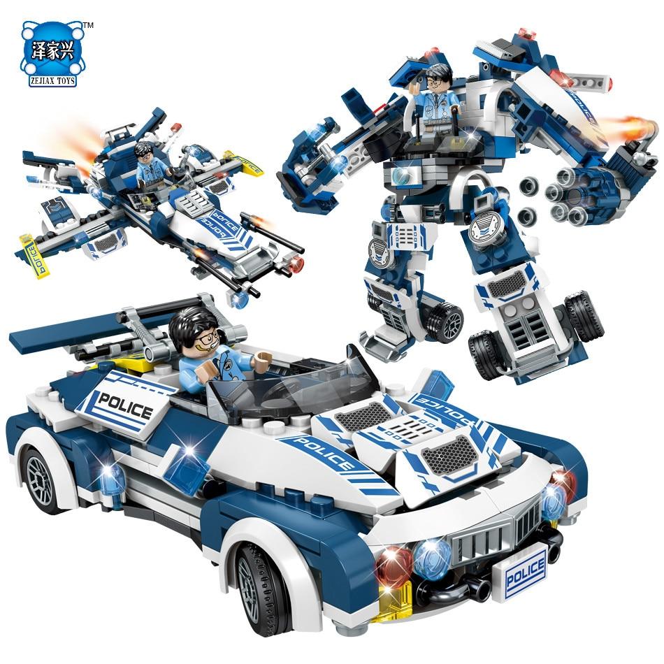 Super Police Robot Car Aircraft Figures Weapon Building Blocks Sembo ToysCompatible Lepins City Enlighten Bricks Children Toys<br>
