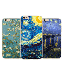 NganSek Vincent Van Gogh Cases For Apple iphone 5 5S SE 6 6S Plus 7plus Oil Painting Sunflower Starry Sky Night Van Gogh Case