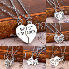 2PCS  Best Friends Forever BFF Puzzle Key Lock Heart Necklace Pendant Friendship Strip Pattern Statement Jewelry Necklace Choker