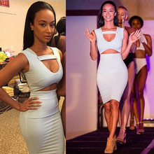 2015 Aliexpress European and American Couture Fashion White Belly Sexy Slim Nightclub Sleeveless Dress