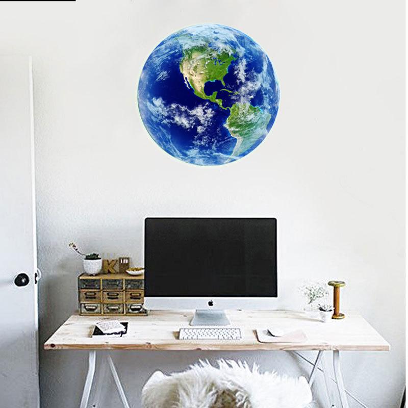 HTB1eLvYRVXXXXXLXpXXq6xXFXXXR - Hot sale 1PCS new Luminous blue earth Cartoon DIY 3d Wall Stickers for kids rooms bedroom wall sticker Home decor Living Room