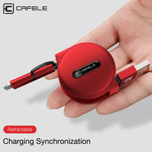 Cafele 2 In 1 Micro USB Cable for iPhone Mini USB Cable Retractable Portable Charging Cable for iPhone 8 7 6 5 Xiaomi Redmi 4X(China)