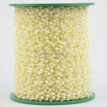 Free Shipping!120meters/lot 3MM Cream pearl Beads string Garland Wedding Centerpiece party decoration crafting DIY accessory