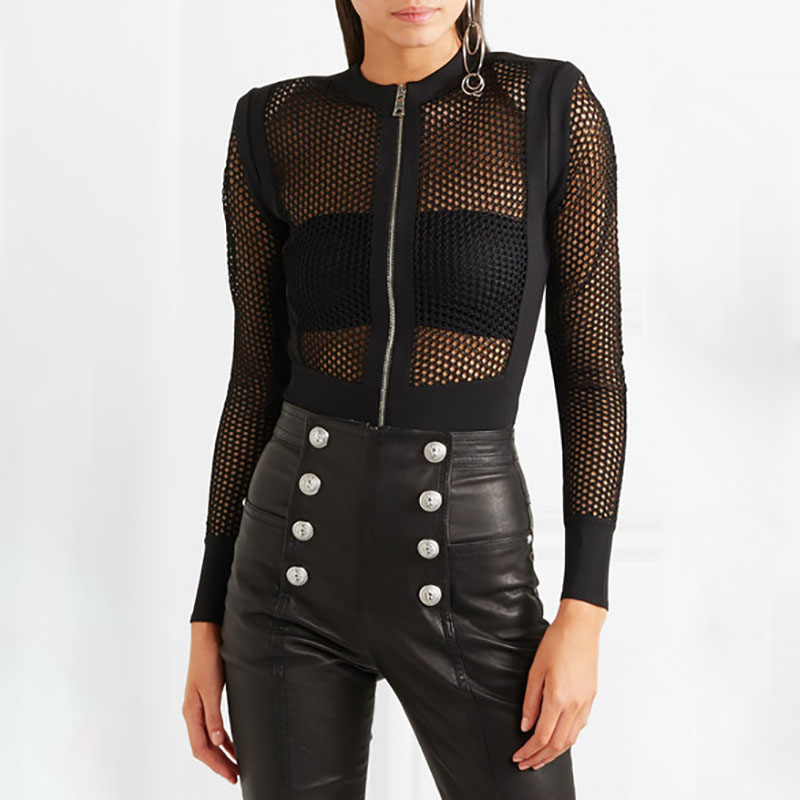 2018  new summer   girl wholesale black mesh see through long sleeve   bandage bodysuits