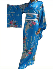 Light Blue Traditional Japanese Women's Silk Yukata Kimono With Obi Vintage Party Prom Dress Dancing Dress One size WK010(China)