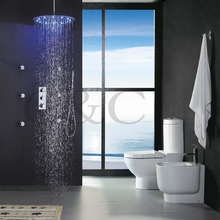 Buy Thermostat Bathroom Shower Faucet Set 20 Inch LED 3 Colors Thermostatic Sensitive Rainfall Round Shower Head Brass Hand Shower for $341.33 in AliExpress store