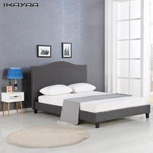 iKayaa Antique Full/Queen Sized Tufted Linen Wingback Bed Frame With Wood Slats Sponge Padded Upholstered Platform Bed US Stock
