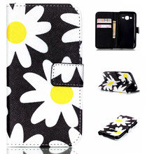 Yellow/White Sun Flower Design Leather Flip Stand Wallet Holder Pouch Cover Case For Samsung Galaxy J1 Ace J110 J110F Funda Capa(China)