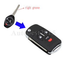 KEYYOU 3 +1 Buttons Remote Flip Folding Key Shell Case Keyless Fob Fit For Mitsubishi Galant Eclipse Lancer Uncut 4 Buttons