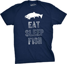 Mens Eat Sleep Fish T Shirt Funny Vintage Fishinger Outdoors Tee 100% Cotton T-Shirts Brand Clothing Tops Tees Black Style