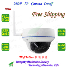 SD Card storage WIFI 960P IR Dome Vandal proof Outdoor CCTV Cam 1.3MP Onvif IP Camera Email Motion Alarm P2P Mobile view Metal