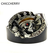 New Men's Jeans Leather Belts with Lucky 13 Poker Kings Skull Belt Buckles Metal For Mens Pants Cinto Masculino Fivela Caveira(China)