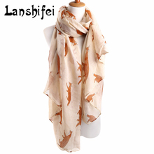Newly Design Fashion Fox Pattern Scarf Print Long Scarves Flower Beach Wrap Ladies Stole Shawl Support Drop Shipping 72.83*35in(China)