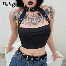 Darlingaga Cotton Halloween punk choker halter top women cami backless buckle crop top clothes camisole sexy tops cropped gothic(China)