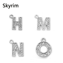 Skyrim 20pcs/lot Fashion H/M/N/O with Rhinestone Letter Charms Necklace & Bracelets Accessories Charms DIY Jewelry Making