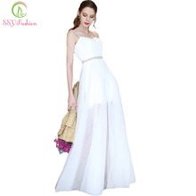 Robe De Soiree SSYFashion New Simple Banquet Elegant White Evening Dress Sleeveless Floor-length Party Formal Gown Custom(China)