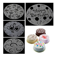 2017 Promotion 4 Sets Of Cake Spray Mold Screen Printing Sugar Diy Bakeware West Point Lace Decoration Food Grade Green Plastic(China)