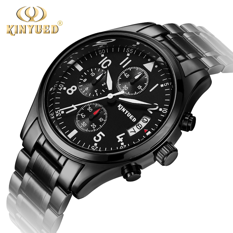 Kinyued Brand Good Quality Men Watches Metal All Black Quartz Mens Watch Day Calendar leather strap Wristwatch Relogios With Box<br><br>Aliexpress