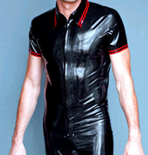 Rubber shirt close-fitting black with red trim latex coat tights for man plus size hot sale Customize Service