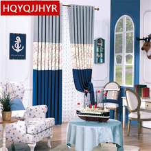 European luxury stitching cotton linen curtains for living room Mediterranean embroidery finished curtains for bedroom kids room(China)