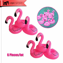 6pc/Lot Mini Cute Fanny Toys Flamingo Floating Inflatable Drink Coke Can Holder for Swimming Pool Bathing Beach Party Kids Gifts(China)