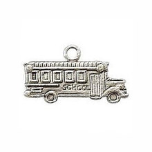 15pcs--School Bus Charms Antique Tibetan Silver Tone Two Side School Bus Pendants/Charms 23x13mm(China)