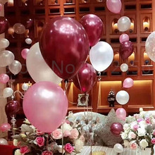 Quality 12 inch 3.2g Burgundy White Pearl balloon latex balloon circle balloon wedding birthday party supplies Balloons(China)