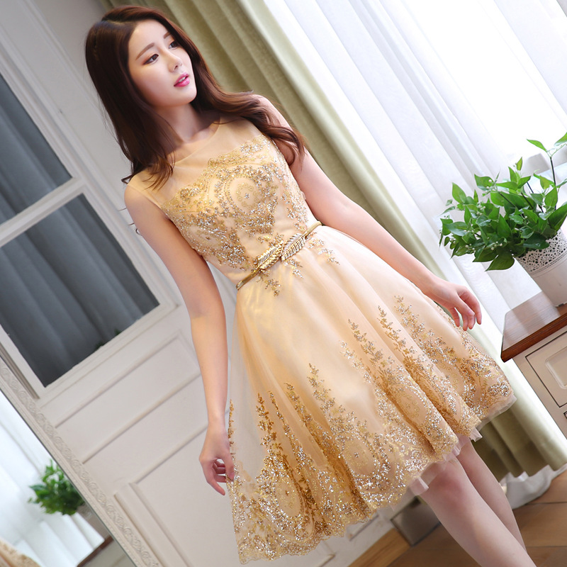 New Women Gold Evening Qipao Wedding Bridesmaid Dress Elegant Lady Mini Sequins Cheongsam Robe Demoiselle D'honneur Size S-XXL
