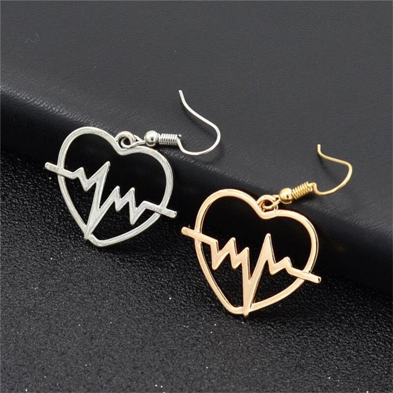 2018 Trendry Earrings for Women 's Heart shaped electrocardiogram Earrings Ear Studs Jewelry Ornament Jewelry Brincos J05#N (6)