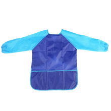 Children Kids Waterproof Long-sleeved Art Smock Painting Apron Plus Size (Blue)Baberos Bavoir Clothing free shipping
