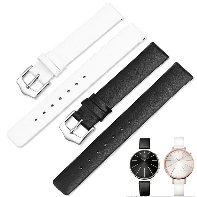 MASAQI Womens Genuine Leather Watch Band Soft Black Watch Strap for CK Calvin Klein K3E236L6 K2B23101 K3P236G6 K3N231 12mm 14mm<br>