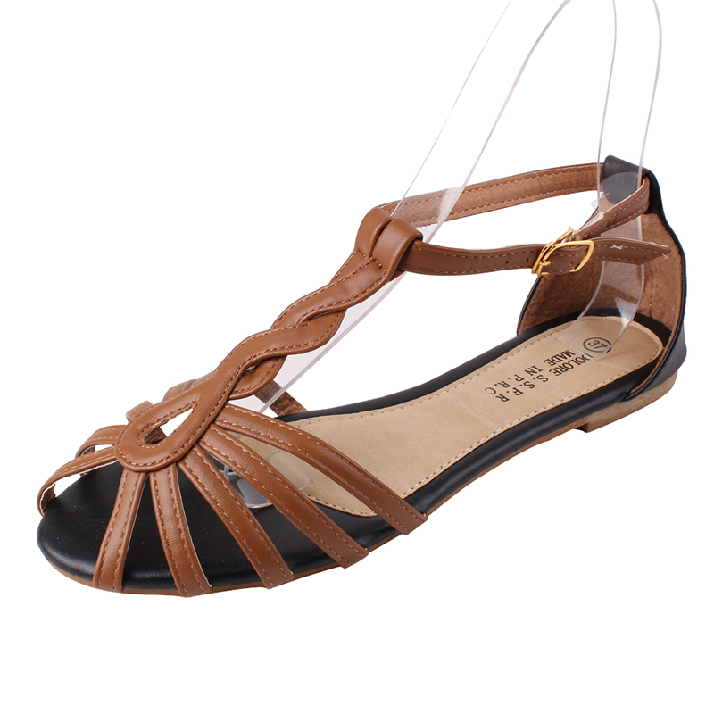 New pu women sandals hollow fish head women sandals large size women flat sandals open-toed sandals women free shipping<br><br>Aliexpress
