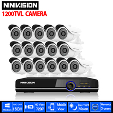 NINIVISION White 1200TVL Security CCTV System 16ch DVR Kit 720p HD outdoor Camera Mobile Phone view monitoring Surveillance Kits