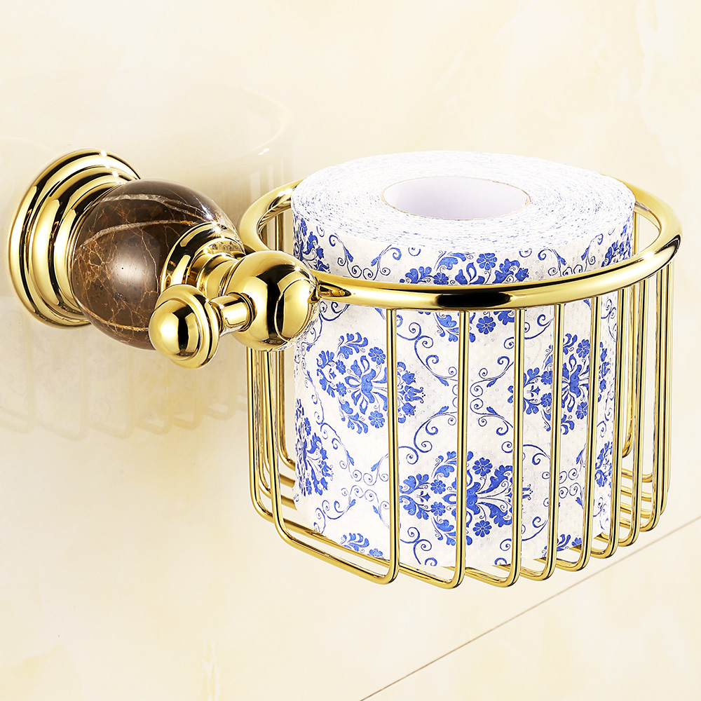 European Solid Brass Gold Paper Basket Vintage Polished Chrome Marble Paper Box Paper Holder Wall Mount Sanitary Products W21<br>