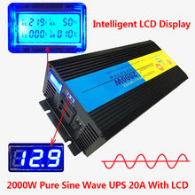 2000W/4000W(Peak) uninterruptible power supply Pure Sine Wave Power Inverter +Charger & UPS DC 12V to AC 220V LED Display