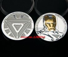 The Hollywood movie The Avengers Iron Man Challenger gold and  silver plated souvenir Coins,5 pcs/lot. free shipping