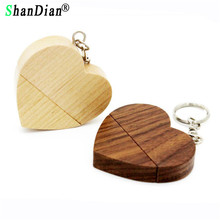 SHANDIAN LOGO customized wooden Heart USB Flash Drive Pendrive 64GB 32GB 16GB 8GB U Disk Memory Stick photography wedding gifts(China)