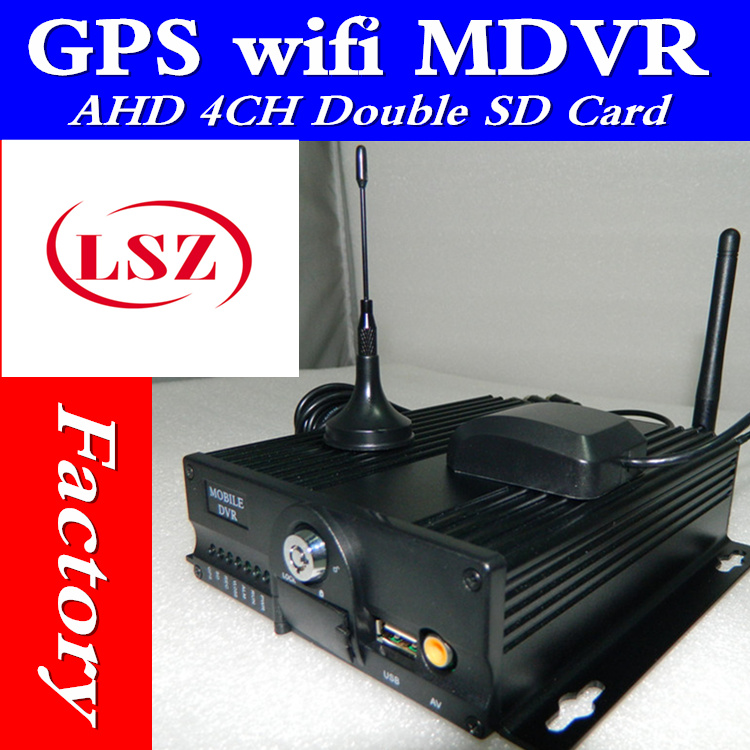 WiFi real time GPS positioning on-board monitoring host HD double SD card car video recorder MDVR factory