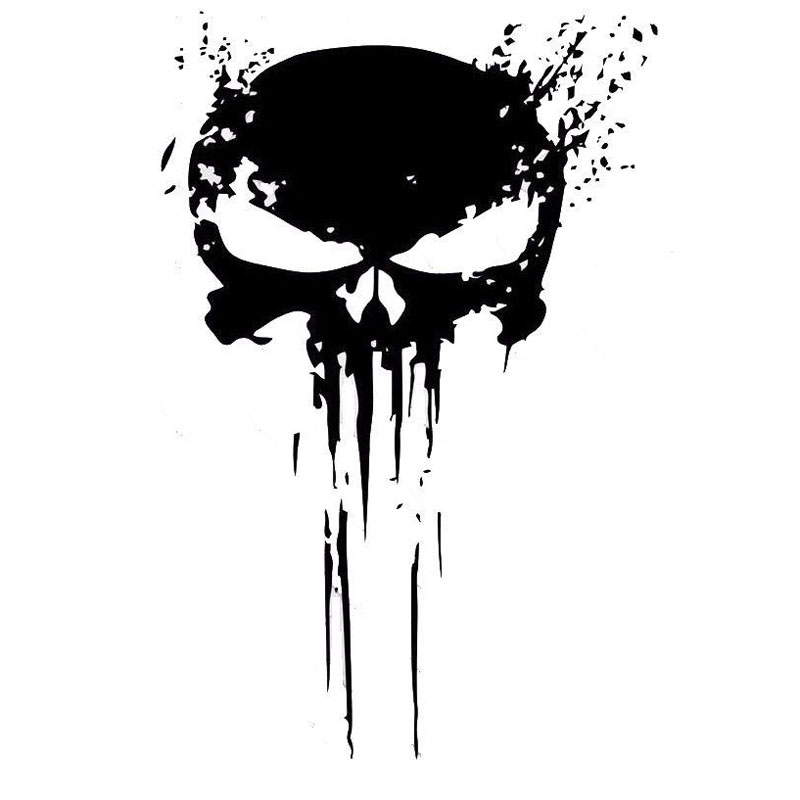 Stickers Decoration Car-Decals Punisher Skull Blood Vinyl Motorcycles Black/silver 10CMX15CM title=