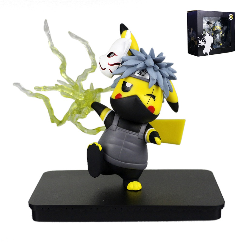 Pocket Monster Cute Pikachu Cos Hatake Kakashi Naruto Figure MV097027<br>
