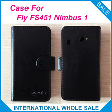 Hot! Fly FS451 Nimbus 1 Case, 6 Colors New 2017 items Factory Price Flip Leather Cover For Fly Nimbus 1 FS451 Case+tracking(China)