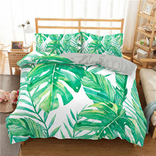 ZEIMON Tropical Plant Printed Bedding Set Home Textile Green Leaves Heart Queen King Size Bedclothes Adults Bedroom Bedspread(China)