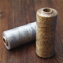 baker twine Striped 110yard12ply Striped DIY Metallic golden Gold Silver Twist Rope Baker Twines Craft Gift Packing spools(China)