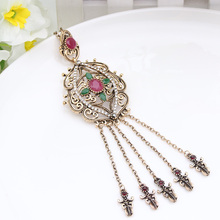 Vintage Turkish Tassels Resin Long Pendant Necklaces Hollow Roll Grass Pattern Antique Gold Color Casual&Party Women Jewelry