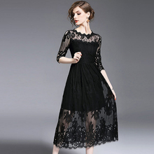 2017 Summer Solid White Black Lace Elegant Long drees High quality women's O Neck Beach Hollow out dresses vestido de festa